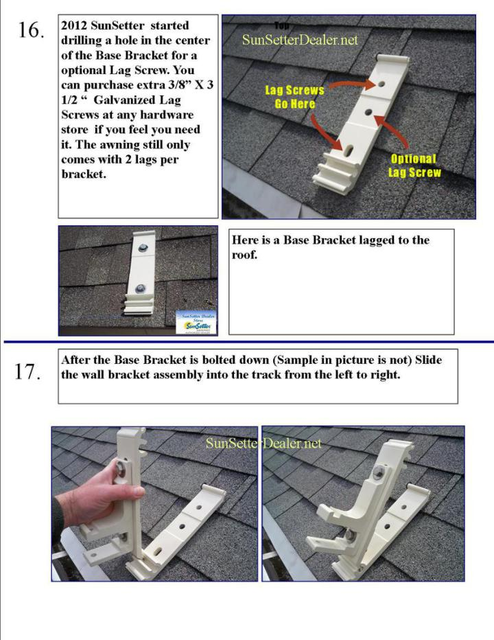 Sunsetter Patio Awning Roof Mounts Brackets Instructions