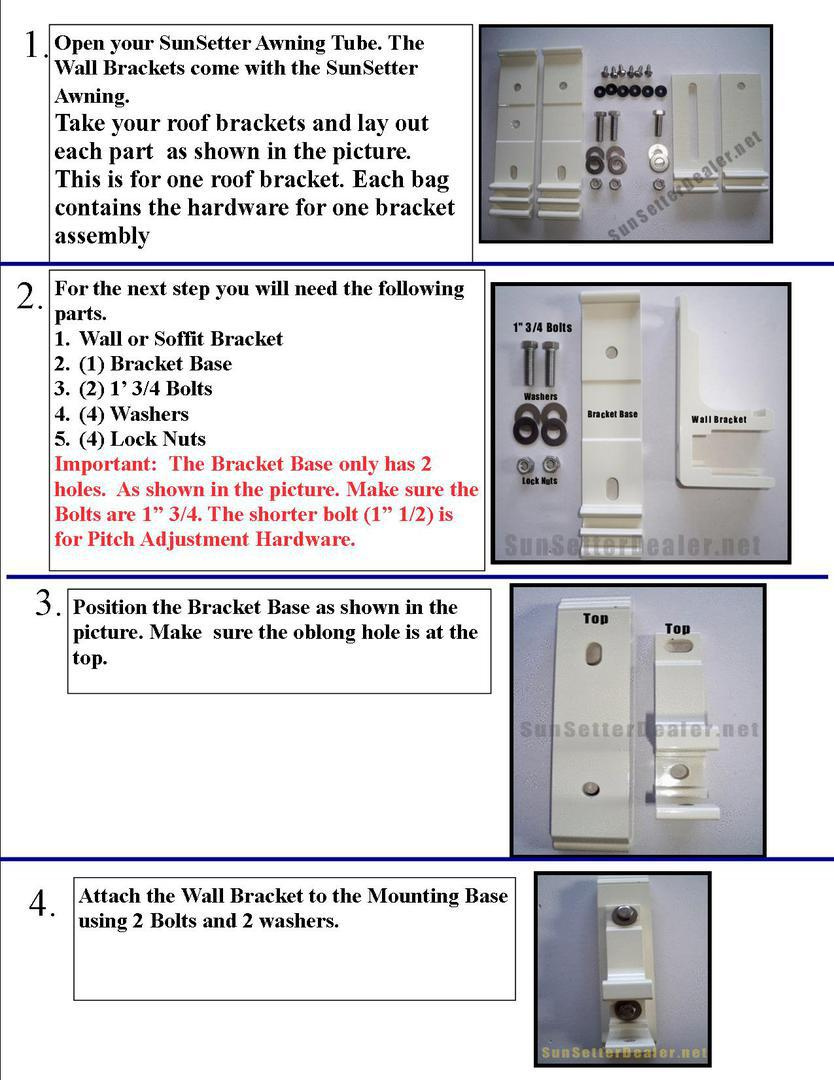 SunSetter Patio Awning Roof Mounts & Brackets - Instructions
